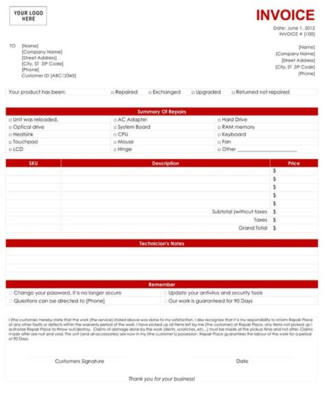 it services invoice template computer service invoice template