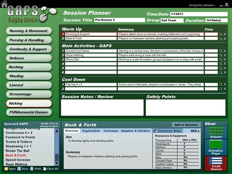 Help For Coaches G A P S Coaching Software Findrugbynow Comfindrugbynow Com Find Your Rugby Coaching Session Plan Template