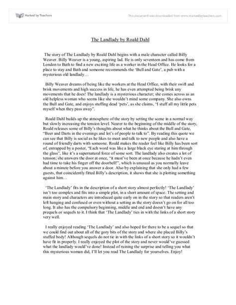 The Landlady By Roald Dahl Essay by The Landlady Gcse Marked By Teachers