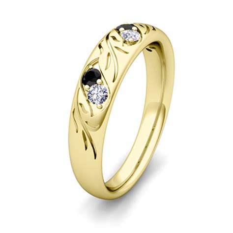 gold wedding bands his and hers his and hers matching wedding band in 14k gold black