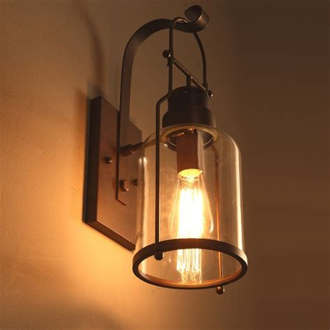 Lantern Wall Sconce by Industrial Loft Rust Metal Lantern Single Wall Sconce With