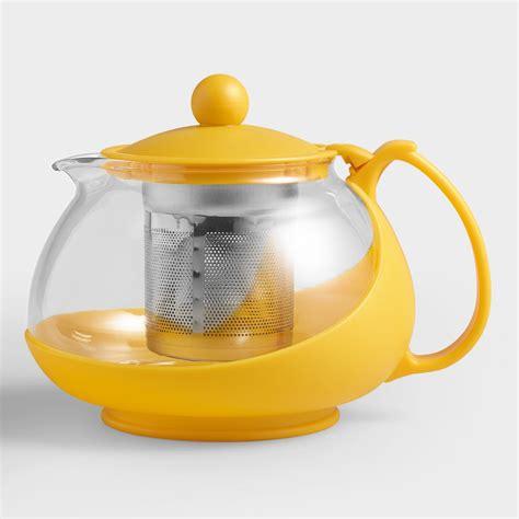 Infuser Tea Pot yellow glass infuser teapot world market