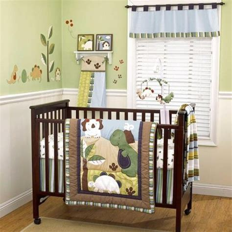 Dinosaur Crib Bedding Set by Green And Brown Dinosaur Nursery Baby Boy 4pc Crib