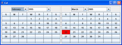 java swing calendar exle calendar in a jwindow calendar 171 swing components 171 java