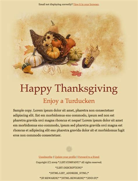 thanksgiving template more email templates to in mailchimp