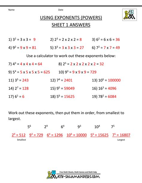 5th Grade Math Practice Worksheets by Free Math Worksheets Exponents 5th Grade Exponents