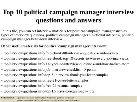 political caign manager contract template top 10 political caign manager questions and