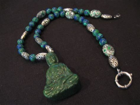 jade bead necklace green jade buddha pendant with lapis like silver plated