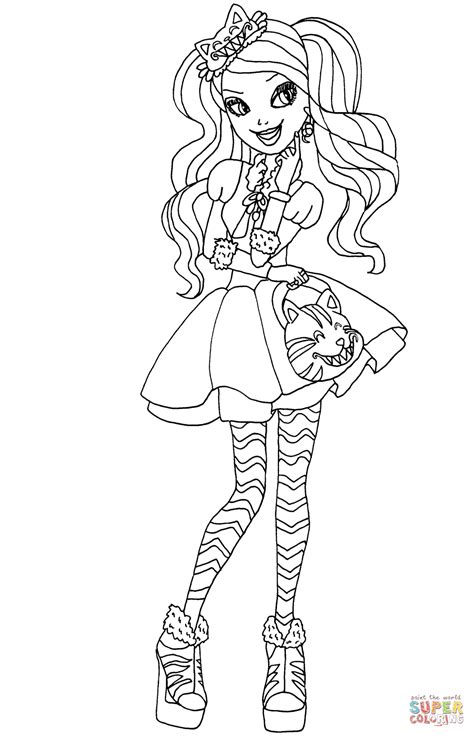 ever after monster high coloring pages ever after high kitty cheshire coloring page free