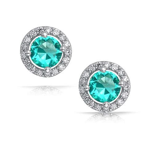 925 Sterling Silver Color CZ Crown Set Round Stud Earrings