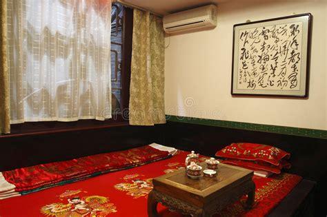 stanza da letto antica da letto antica di cinese stile fotografia stock