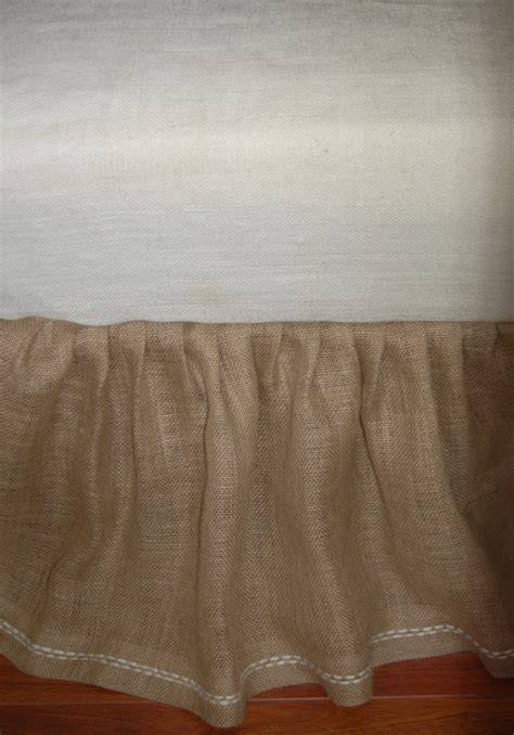 burlap bed skirt rustic cottage chic natural burlap bed skirt ruffled with