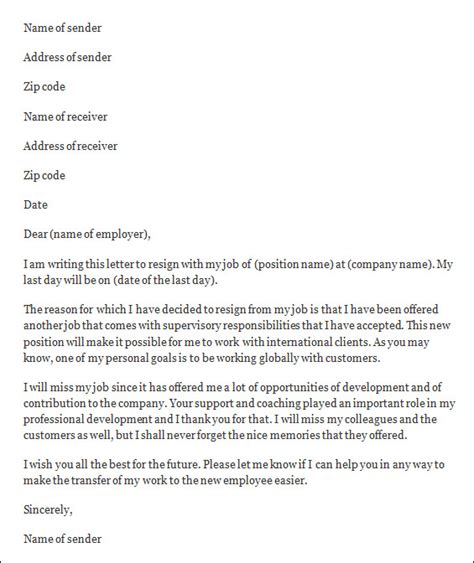 Resignation Letter Of Employment Employee Resignation Letter Sle