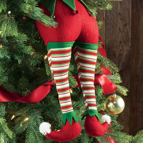 elf legs stuck in christmas tree merriest legs all gifts olive cocoa