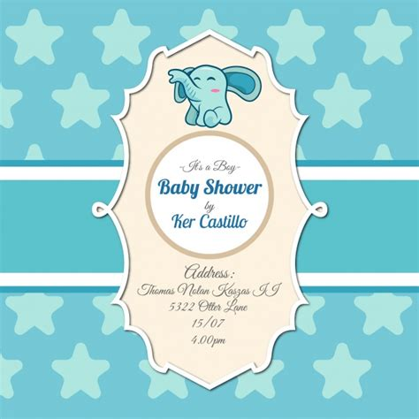 invite baby shower vector baby shower invitation with elephant vector free download
