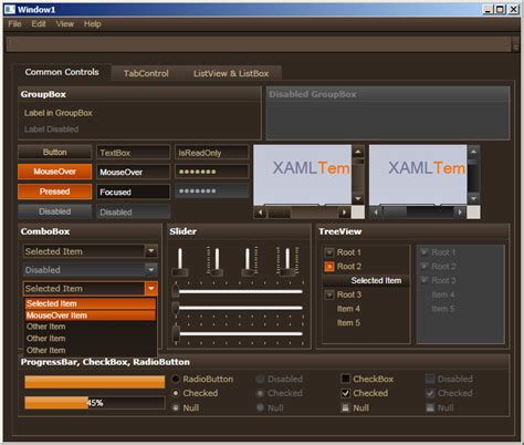 xaml templates wpf themes wpf styles wpf templates