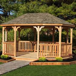 permanent gazebo yardcraft oval 18 ft w x 12 ft d cedar permanent gazebo