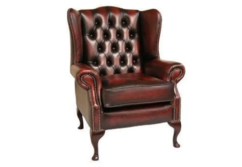 Leather wing back chair ebay