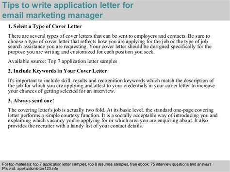 Email Marketing Manager Application Letter email marketing manager application letter