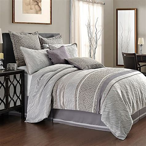 bed bath and beyond tysons vienna mixed animal print comforter set in grey bed bath