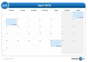 Kalender 2018 Vakanties Kalender April 2018