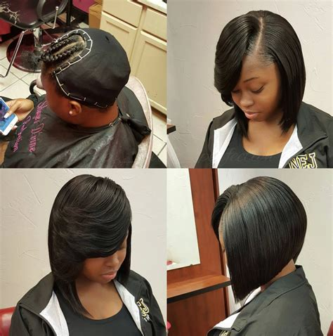 short hair syles with weave shownig part of your hair showing nice quick weave bob via shayes dvine perfection black