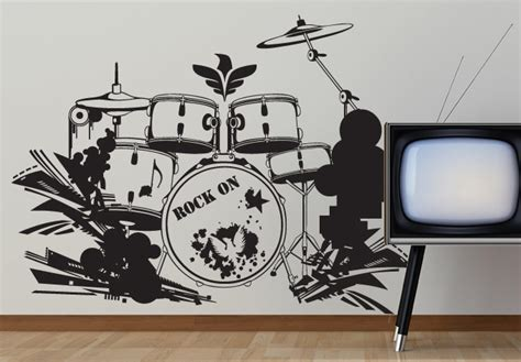 music decor for home drum set wall decal decor music style for your home
