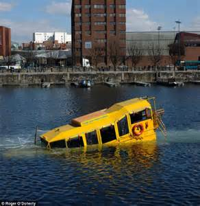boat tour liverpool yellow duckmarine hibious vehicle sinks into the