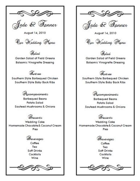 Wedding Menu Template 7 Wedding Menu Templates Wedding Menu Size Template