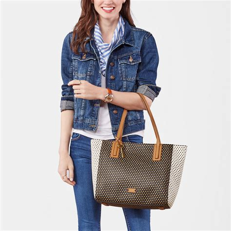 Fossil Xbody Navy Dot Tote Fossil