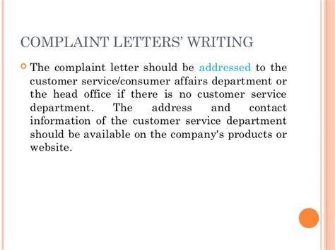 Writing A Complaint Letter For Poor Service Letter Writing Communication Skills