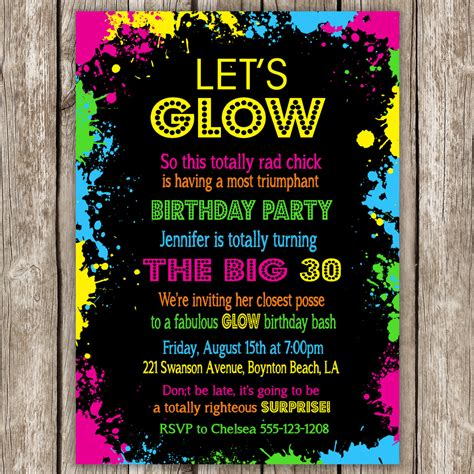 neon party invitation wording glow in the dark