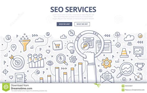 doodle bug website doodle seo concept with icons in speak