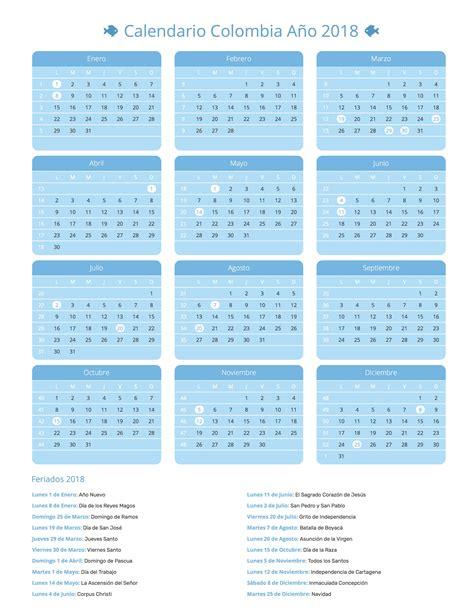 calendario colombia a 241 o 2018 feriados