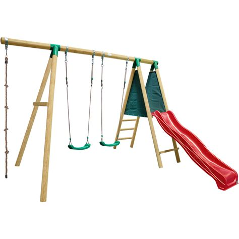 swing set rope timber kids swing set w 2 swings rope red slide buy