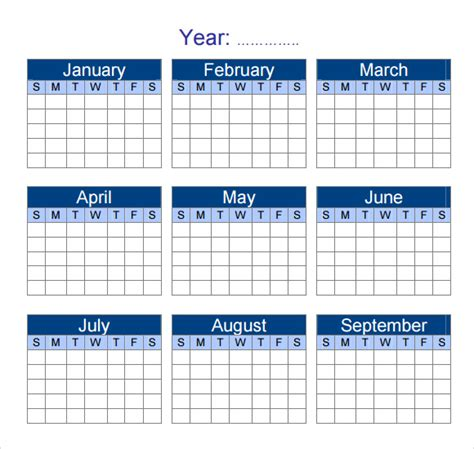 yearly calendar template 7 download premiuim and free