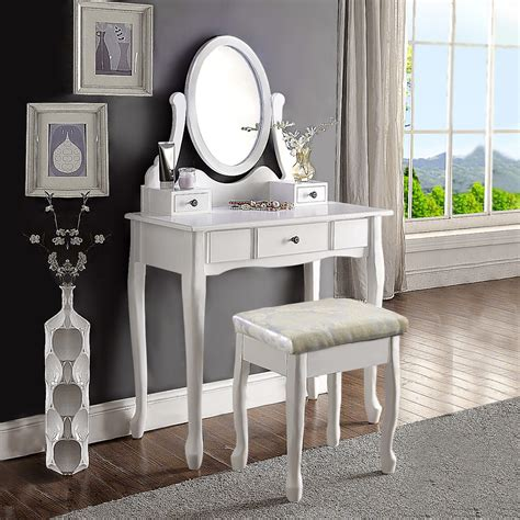 White Makeup Dresser by White Dressing Vanity Table Makeup Dresser With Stool Oval