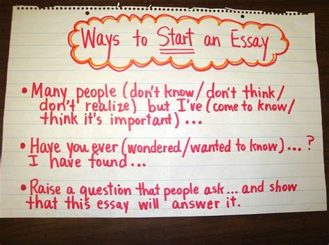 A Way Essay by Ways To Start An Essay Chart Wrtg 6traits Ideas Organization Pint