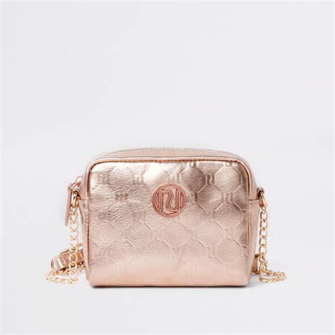 girls rose gold ri monogram cross body bag bags bags