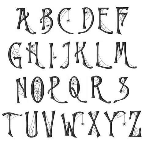 free printable halloween alphabet letters spider web embroidery font thanksgiving pinterest