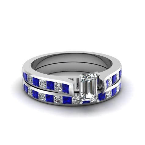 emerald cut channel set diamond wedding ring sets