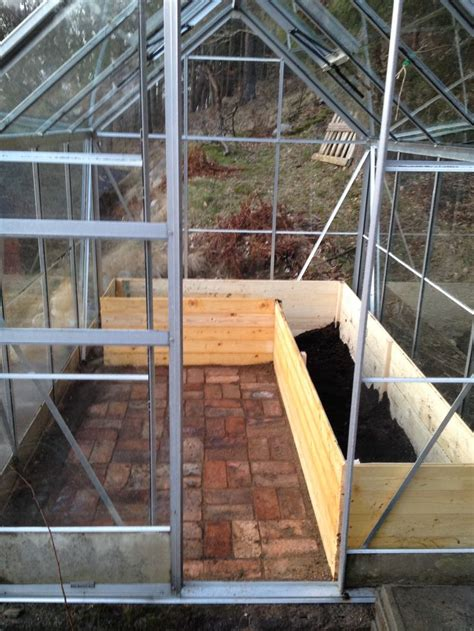 greenhouse raised beds brick floor gardening