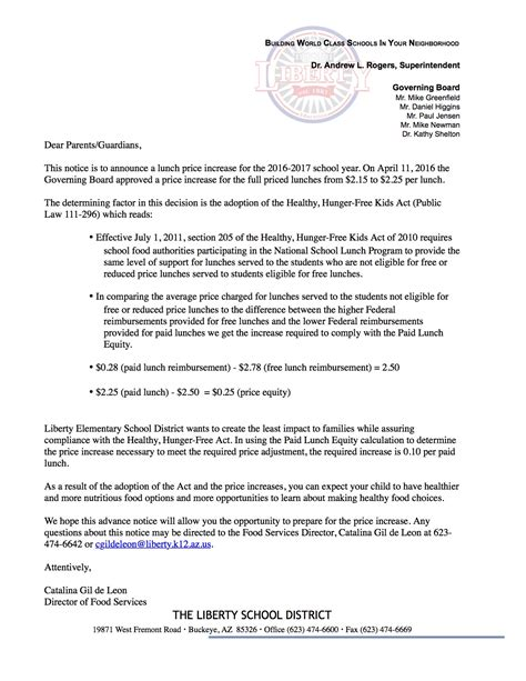 Acceptance Letter For Price Increase 2016 2017 School Lunch Prices Liberty Elementary School