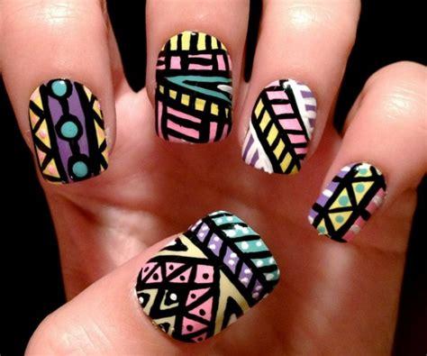 aztec pattern nail art simple nail art designs for beginners 365greetings com
