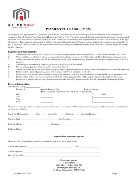 Medical Payment Plan Agreement Template image gallery monthly payment plan form
