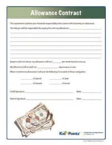 Parent Child Behavior Contract Template by Allowance Contract Kid Pointz