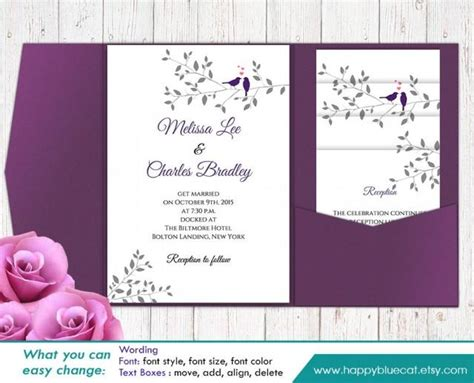 wedding invitation editable template diy printable pocket wedding invitation template set