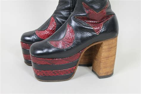 Trend Platform Shoes Bglam by 1970s Glam Rock Platform Leather David Bowie Style Boots