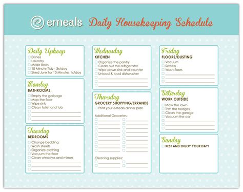 ewees daily house cleaning schedule