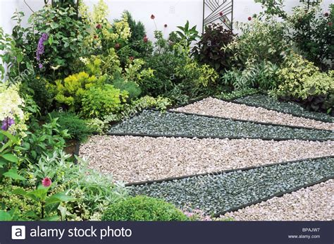 backyard pebble gravel pebble coloured gravel garden sandringham flower show floor ground stock photo